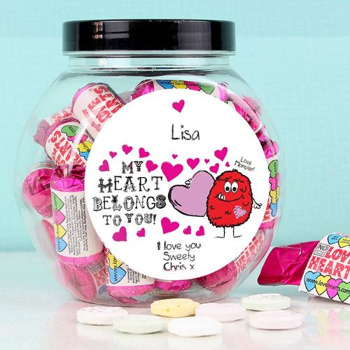 Personalised Love Hearts Monster Sweet Jar